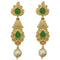 Infinity Green Pota Stone Gold Plated Pearl Dangler Earrings