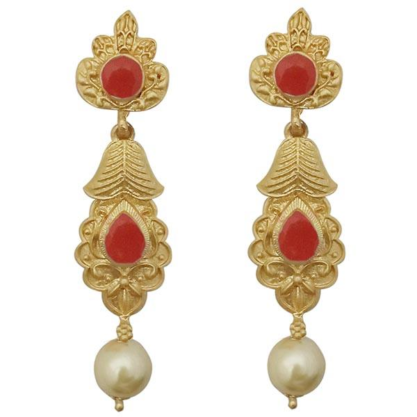 Infinity Red Pota Stone Gold Plated Pearl Dangler Earrings