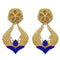 Infinity Blue Pota Stone Gold Plated Dangler Earrings