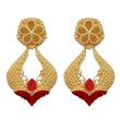 Infinity Maroon Pota Stone Gold Plated Dangler Earrings