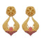 Infinity Pink Pota Stone Gold Plated Dangler Earrings