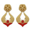 Infinity Red Pota Stone Gold Plated Dangler Earrings