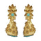 Native Haat Blue Austrian Stone Pearl Drop Gold Plated Dangler Earrings - N1313114C