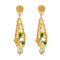 Kriaa Green Austrian Stone Pearl Drop Gold Plated Dangler Earrings