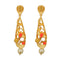 Infinity Orange Austrian Stone Pearl Drop Gold Plated Dangler Earrings