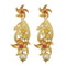 Infinity Maroon Austrian Stone Pearl Drop Gold Plated Dangler Earrings