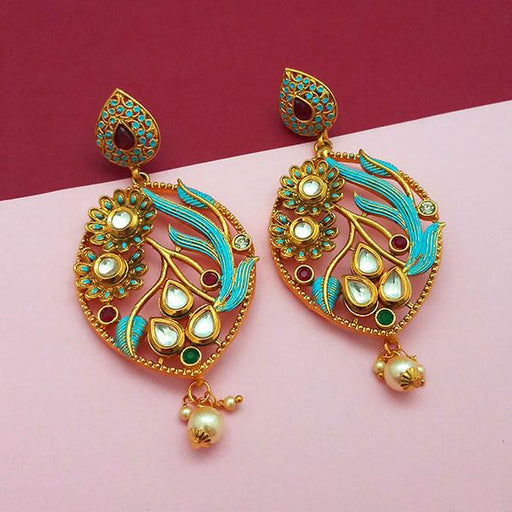 Nikita Arts Gold Plated Stone And Blue Meenakari Copper Matte Dangler Earrings