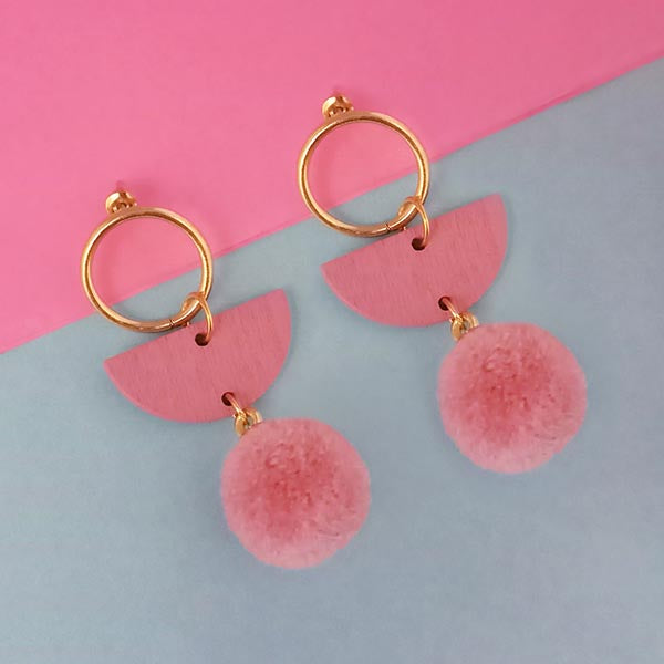 Urthn Pink Wood Pom Pom Earrings