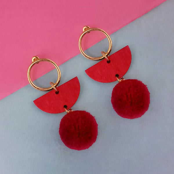 Urthn Gold Plated Maroon Wood Pom Pom Earrings