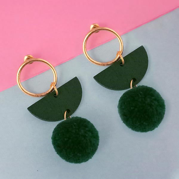Urthn Green Wood Pom Pom Earrings