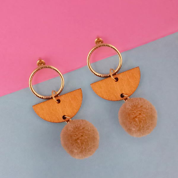 Urthn Brown Wood Pom Pom Earrings