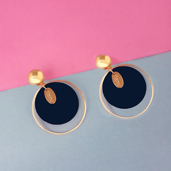 Urthn Gold Plated Blue Wood Dangler Earrings