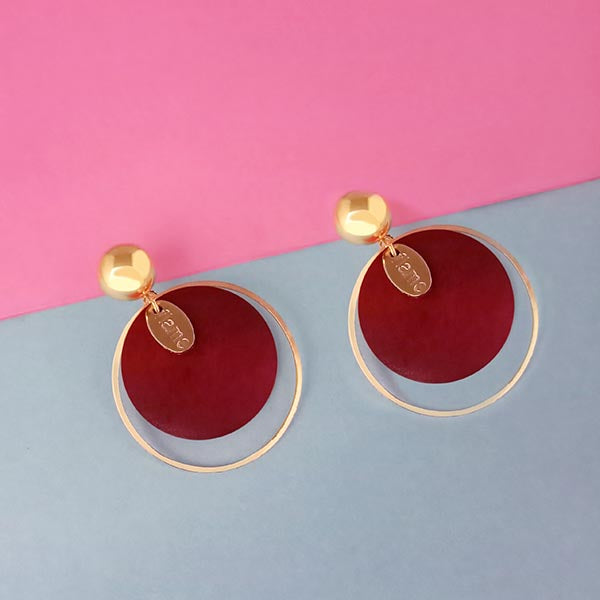 Urthn Gold Plated Maroon Wood Dangler Earrings