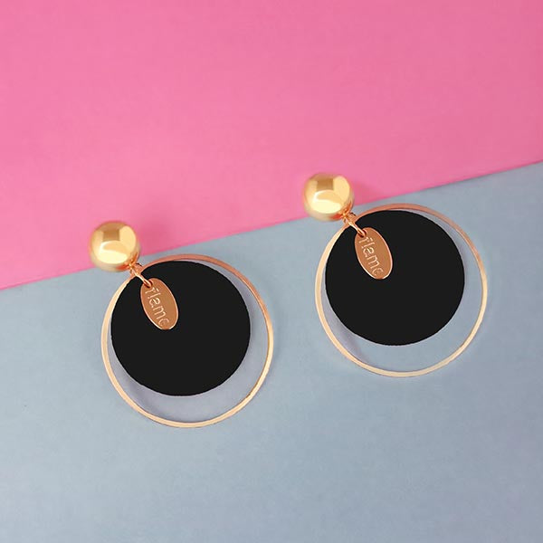 Urthn Gold Plated Black Wood Earrings