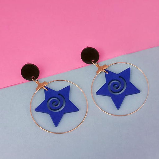 Urthn Blue Star Design Gold Plated Dangler Earrings