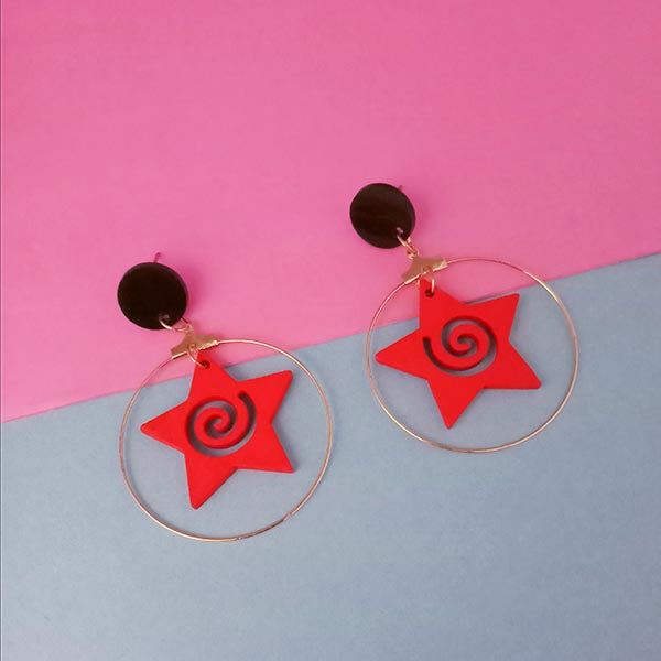 Urthn Red Star Design Gold Plated Dangler Earrings