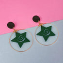 Urthn Green Star Design Wood Dangler Earrings