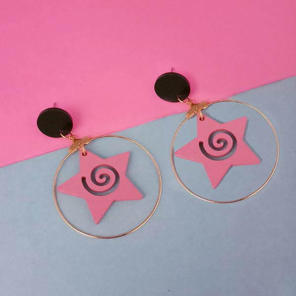Urthn Pink Star Design Wood Dangler Earrings