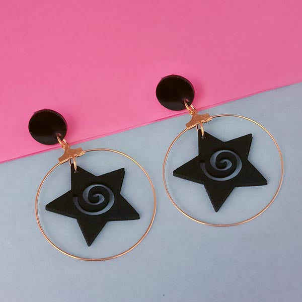Urthn Black Star Design Gold Plated Dangler Earrings