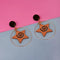 Urthn Gold Plated Brown Star Design Dangler Earrings