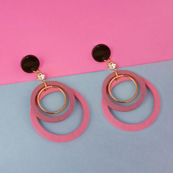 Urthn Pink Wood Dangler Earrings