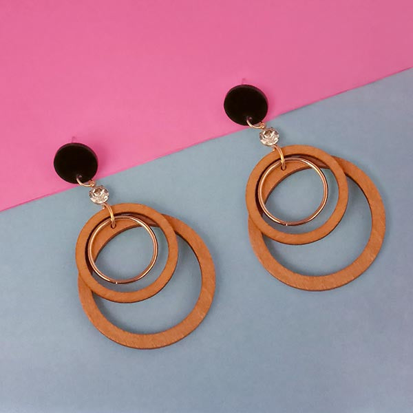 Urthn Brown Wood Dangler Earrings
