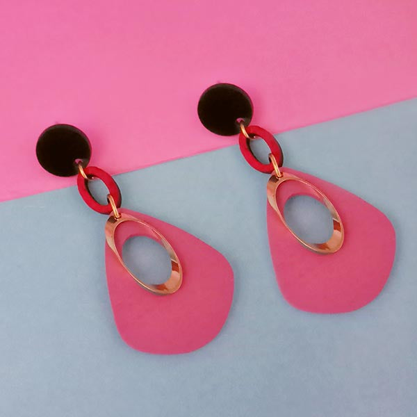 Urthn Gold Plated Pink Wood Dangler Earrings