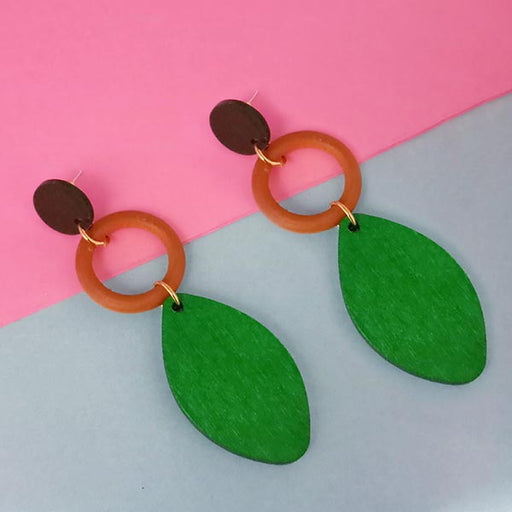 Urthn Green Wood Dangler Earrings