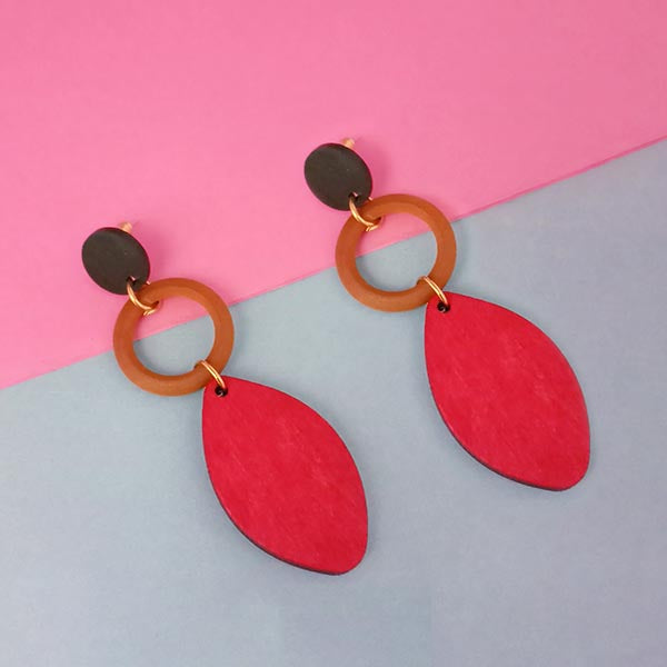 Urthn Gold Plated Red Wood Dangler Earrings