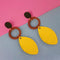 Urthn Yellow Wood Gold Plated Dangler Earrings