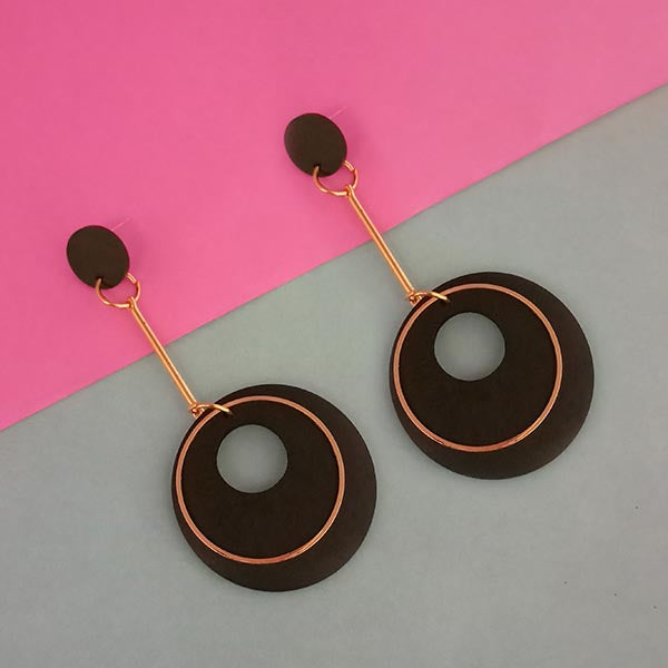 Urthn Black Wood Gold Plated Dangler Earrings