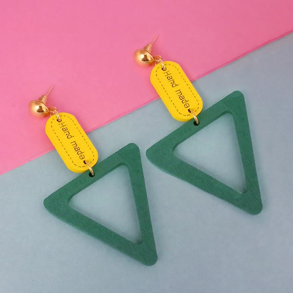 Urthn Gold Plated Green Wood Dangler Earrings