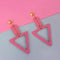 Urthn Pink Wood Gold Plated Dangler Earrings