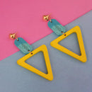 Urthn Gold Plated Yellow Wood Dangler Earrings