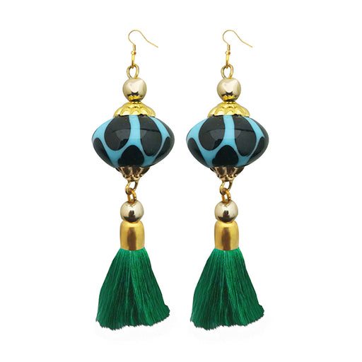 Jeweljunk Green Thread Gold Plated Tassel Earrings