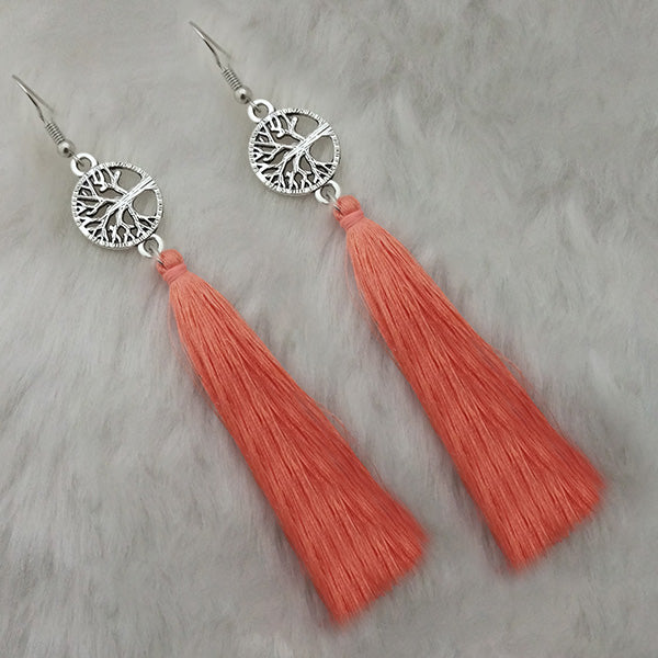 Jeweljunk Peach Thread Rhodium Plated Tassel Earrings