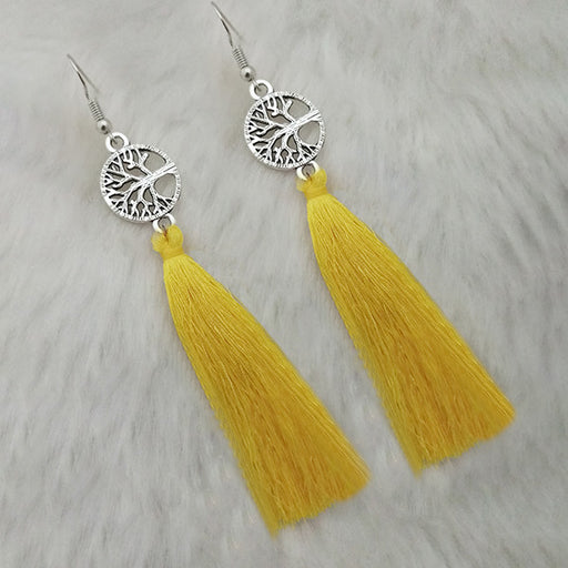 Jeweljunk Yellow Thread Rhodium Plated Tassel Earrings