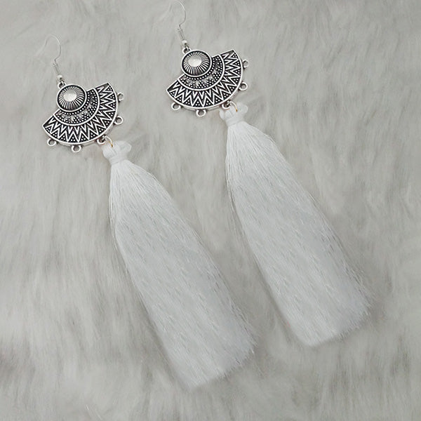 Jeweljunk White Thread Rhodium Plated Tassel Earrings