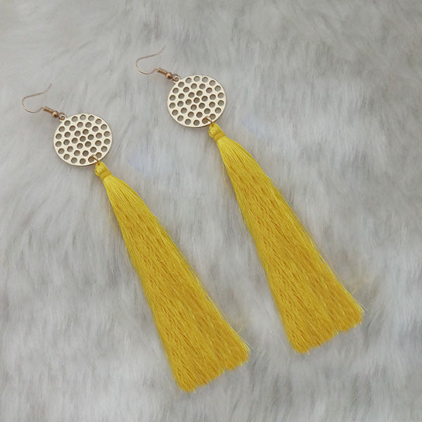 Jeweljunk Yellow Gold Plated Plated Tassel Earrings
