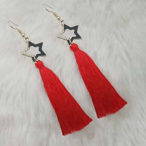 Jeweljunk Red Gold Plated Star Design Tassel Earrings