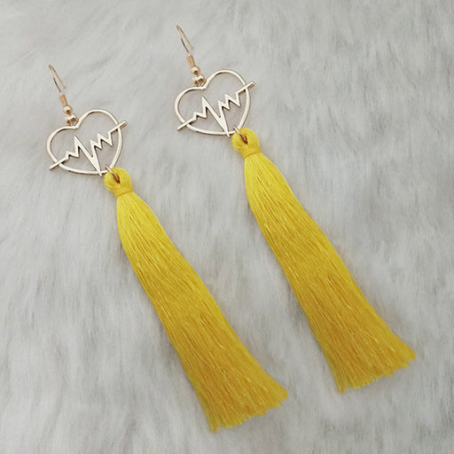 Jeweljunk Thread Gold Plated Heart Design Tassel Earrings