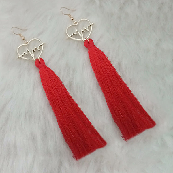 Jeweljunk Red Thread Gold Plated Heart Design Tassel Earrings