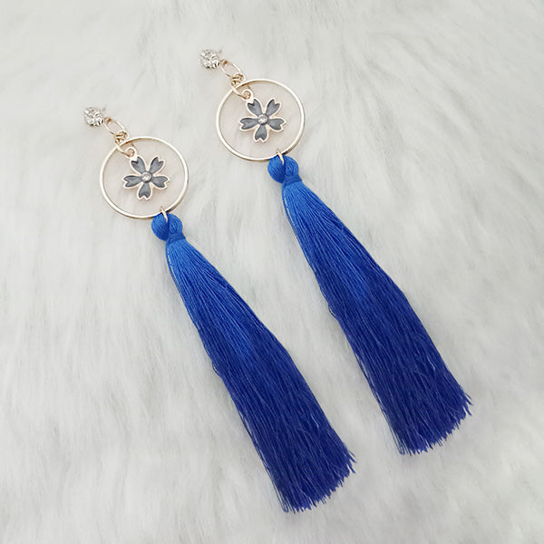 Jeweljunk Thread Gold Plated Floral Design Tassel Earrings