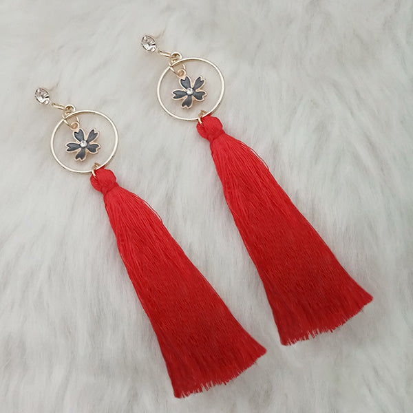 Jeweljunk Red Thread Gold Plated Floral Design Tassel Earrings