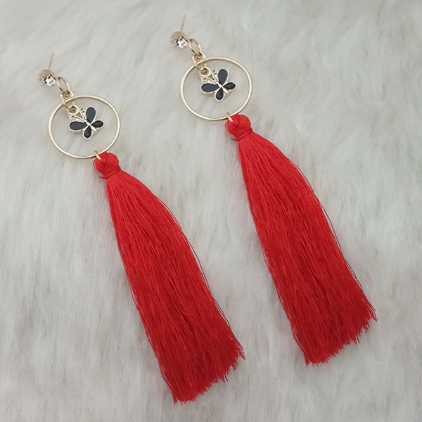 Jeweljunk Red Thread Gold Plated Butterfly Design Tassel Earrings