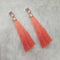 Jeweljunk Peach Thread Gold Plated Tassel Earrings