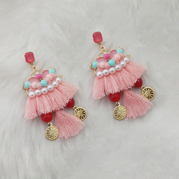 Jeweljunk Peach Thread Multi Stone Gold Plated Tassel Earrings