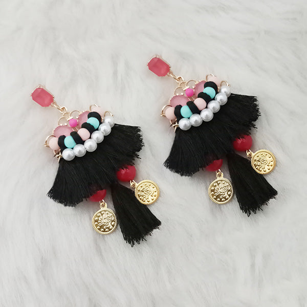 Jeweljunk Black Thread Multi Stone Gold Plated Tassel Earrings