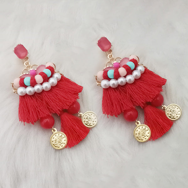 Jeweljunk Red Thread Multi Stone Gold Plated Tassel Earrings