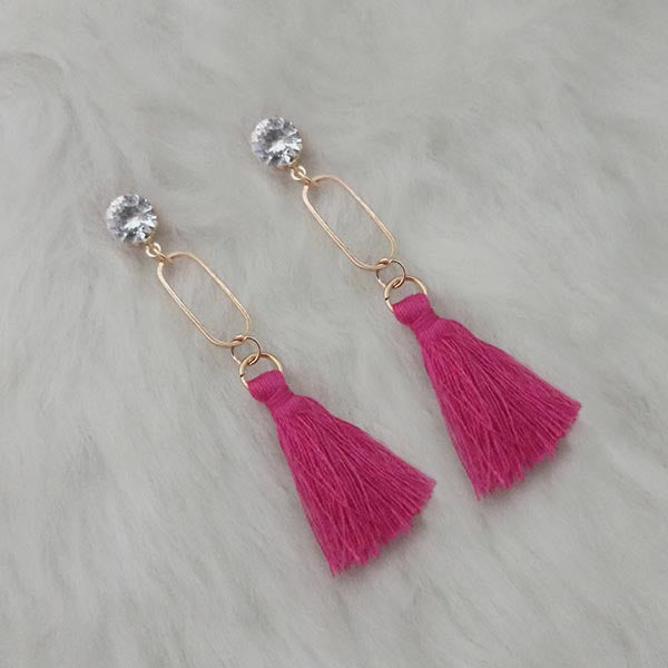 Jeweljunk Gold Plated Pink Thread Tassel Earrings